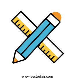 pencil and rule education supply isolated icon
