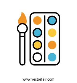 paint brush and palette education supply isolated icon