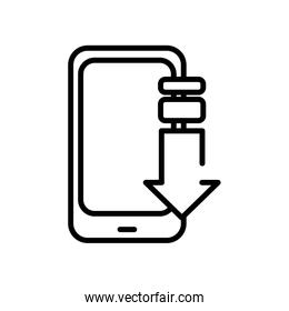 smartphone device with arrow download line style icon