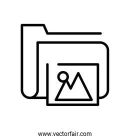 folder file document with picture line style icon