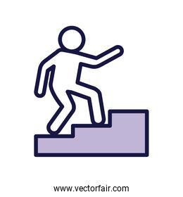 human figure avatar in stairs line style icon