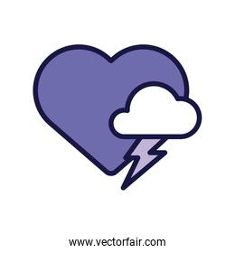 heart with cloud storm line style