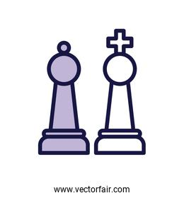 king and queen chess game pieces line style