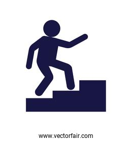 human figure avatar in stairs silhouette style icon
