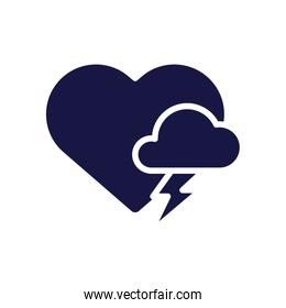heart with cloud storm silhouette style