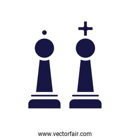 king and queen chess game pieces silhouette style