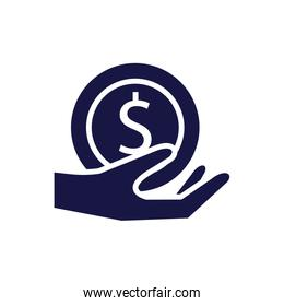 hand with coin money silhouette style