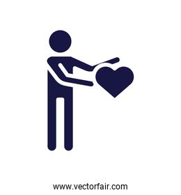 human figure avatar with heart silhouette style icon