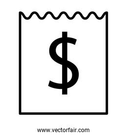 receipt with dollar symbol linear style icon