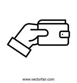 hand with wallet money dollar line style icon