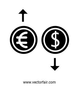dollar and euro with arrows silhouette style icon