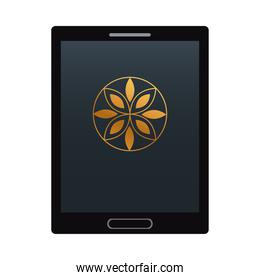 tablet with black and yellow stationery template