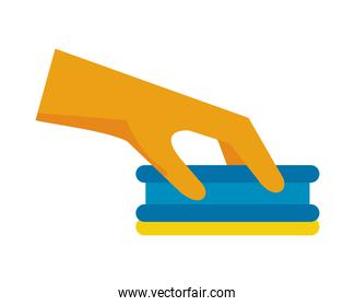 hand with rubber glove and sponge housekeeping accessory