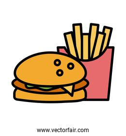 delicious burger and french fries fast food fill style