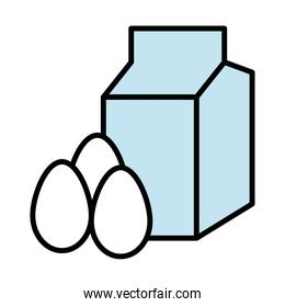 milk box packing and eggs fill style icons