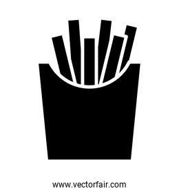 delicious french fries fast food silhouette style