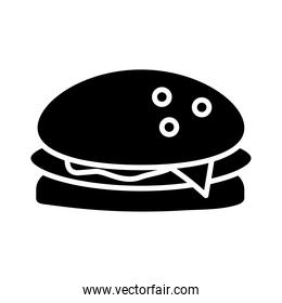 delicious burger fast food silhouette style