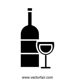 wine cup and bottle drink silhouette style icon