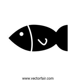 delicious fish healthy food silhouette style