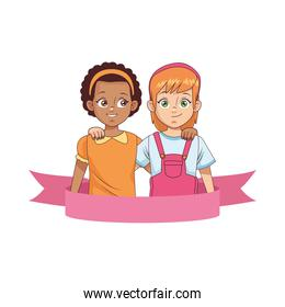 smiling interracial little girls avatars characters