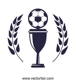 soccer balloon with trophy cup in wreath sport championship