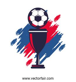 soccer balloon with trophy cup and paint colors sport championship