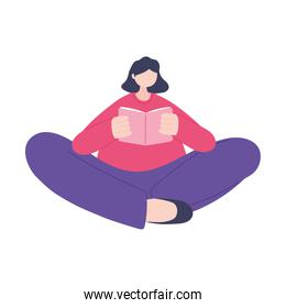 online training, young woman reading book, education and courses learning digital