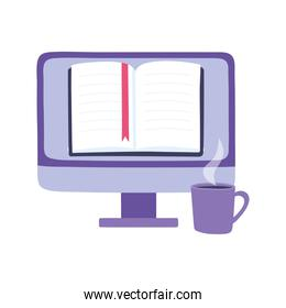 online training, computer ebook and coffee cup, education and courses learning digital