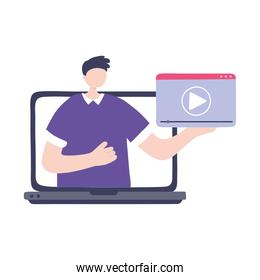 online training, man in screen computer video lesson, education and courses learning digital