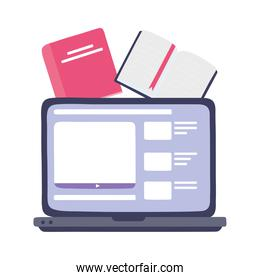 online training, laptop website homework book, education and courses learning digital
