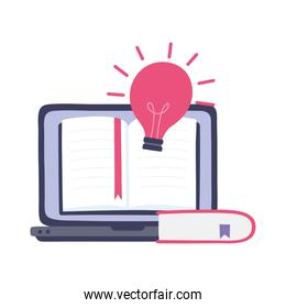 online training, laptop creativity book class, education and courses learning digital