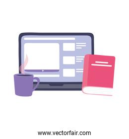 online training, laptop homework book and coffee cup, education and courses learning digital