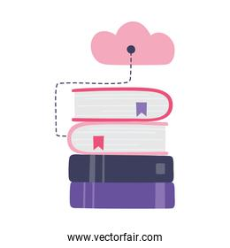online training, stack of books cloud computing connection, education and courses learning digital