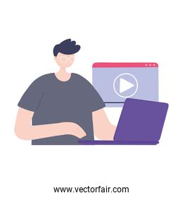 online training, man using laptop video content, education and courses learning digital