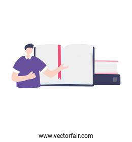 online training, man teaching books tutorial, education and courses learning digital