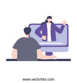 online training, teacher explain a student in computer video, education and courses learning digital