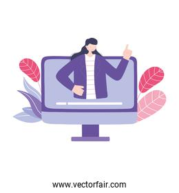 online training, computer teacher woman class virtual, education and courses learning digital
