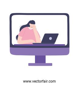 online training, computer with woman using laptop, education and courses learning digital