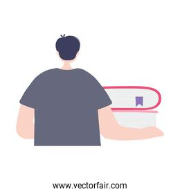 online training, back view boy with books, education and courses learning digital