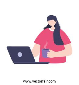 online training, student with laptop and coffee cup, education and courses learning digital