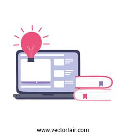 online training, laptop website class information and book, education and courses learning digital