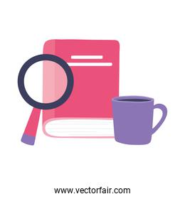 online training, book magnifier and coffee cup, education and courses learning digital