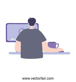 online training, student boy with computer coffee cup, education and courses learning digital