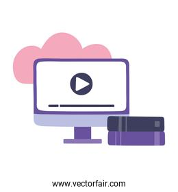 online training, computer video lesson and books, education and courses learning digital