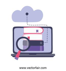 online training, computer ebooks magnifier and cloud computing, education and courses learning digital