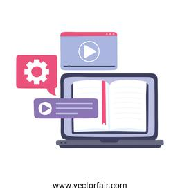 online training, laptop computer video chat, education and courses learning digital