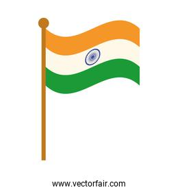 happy independence day india, flag in pole national symbol flat style icon