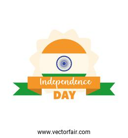 happy independence day india, flag color ribbon traditional flat style icon