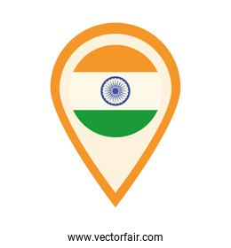 happy independence day india, flag location pointer flat style icon