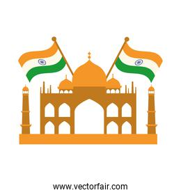 happy independence day india, famous taj mahal temple flags flat style icon